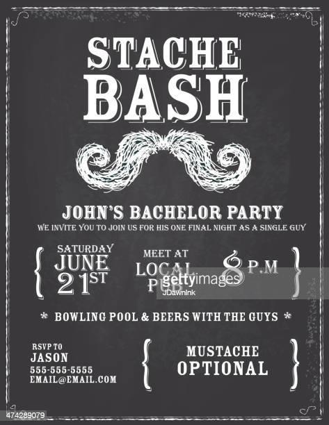 Elegant bachelor party chalkboard invitation design template