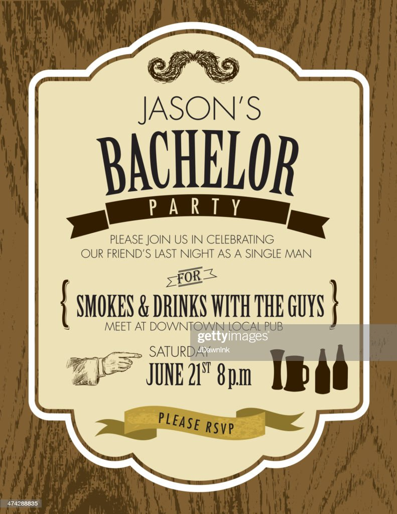 Elegant bachelor party invitation design template on oak wood elegant bachelor party invitation design template on oak wood background monicamarmolfo Choice Image