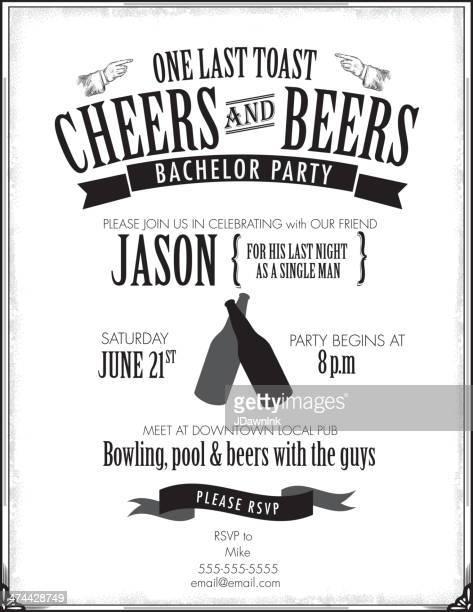 elegant bachelor party invitation design template - masculinity stock illustrations, clip art, cartoons, & icons