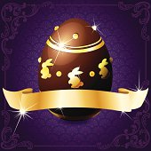 Elegant banner with chocolate egg in purple and gold