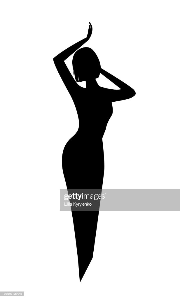 elegant black silhouette of a woman or a girl with a fine beautiful waist and short hair. logo for beauty salon or cosmetics.