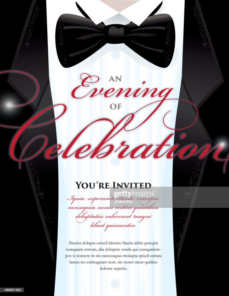 Elegant Black Tie Event Invitation Template With Tuxedo Design
