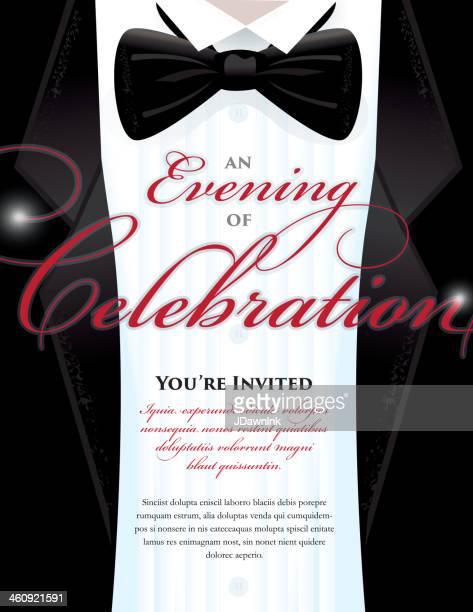 Elegant Black Tie Event invitation template with tuxedo design