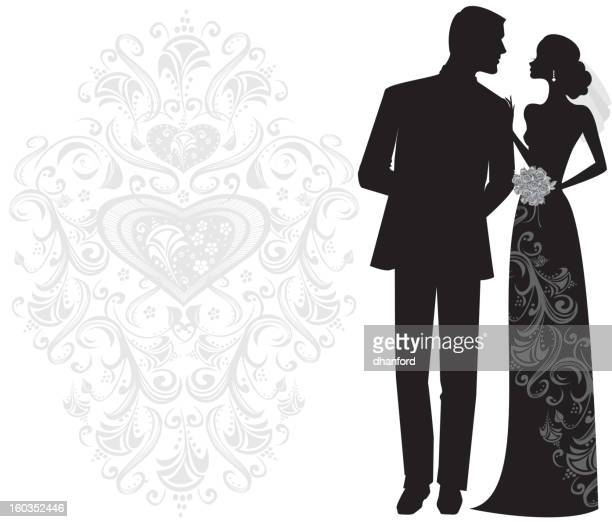 Elegant Bride and Groom Silhouette Just Married