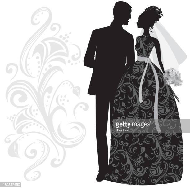 Elegant Bride and Groom Silhouette Just Married