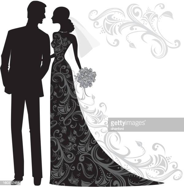 elegant bride and groom silhouette just married - flirting stock illustrations, clip art, cartoons, & icons