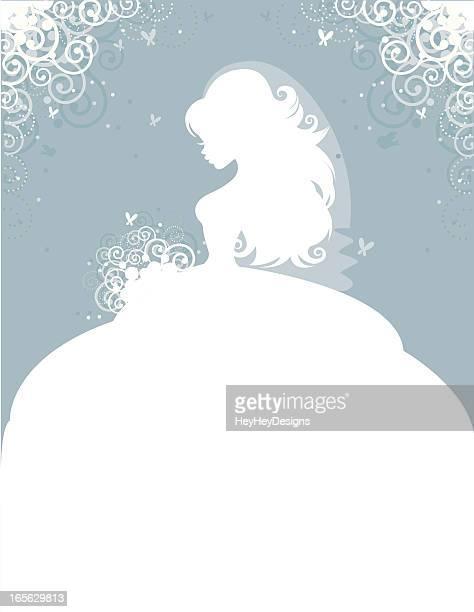 ilustraciones, imágenes clip art, dibujos animados e iconos de stock de elegante pareja en azul - vestido de novia