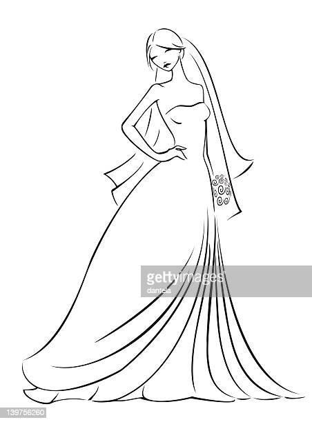 ilustraciones, imágenes clip art, dibujos animados e iconos de stock de elegante novia - vestido de novia