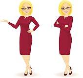 Elegant businesswoman in different poses