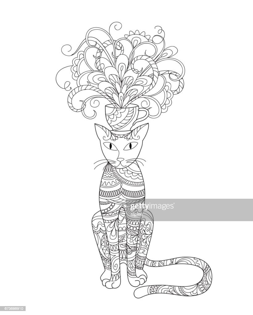 Elegant Cat With Bouquet Flowers In The Cup Vector Art Getty Images