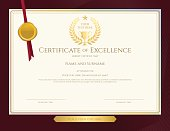 Elegant certificate template for excellence, achievement on red border background