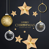 Elegant christmas background with decorative gold balls and stars