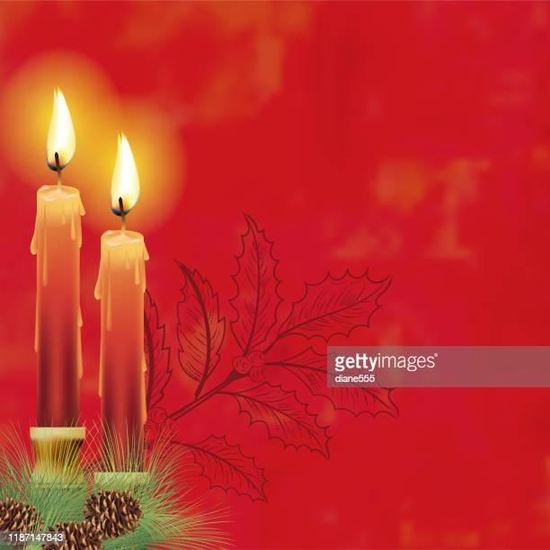 elegant christmas candles background - christmas decore candle stock illustrations