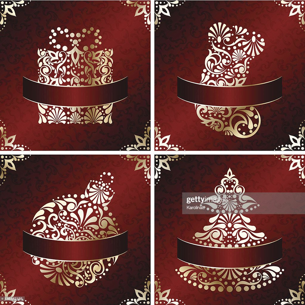 elegant christmas cards with filigree ornament vector art - Elegant Christmas Cards