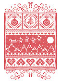 Elegant Christmas Scandinavian, Nordic style winter stitching, pattern including snowflake, heart,  reindeer, mountain, moon, Christmas tree, gift, bubble, snow, robin, snowflake, star in red, white