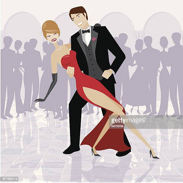 Elegant Couple Dancing in Ballroom