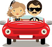 Elegant couple in a car