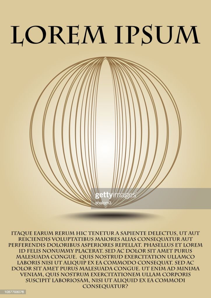 Elegant cover design with wire gold sphere, luxurious design, shadow, copy space, beige gradient background, useful for placard, flyer, leaflet, poster.