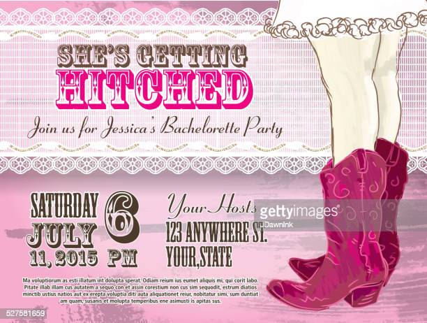 Elegant Cowgirl or country western bachelorette party invitation design template