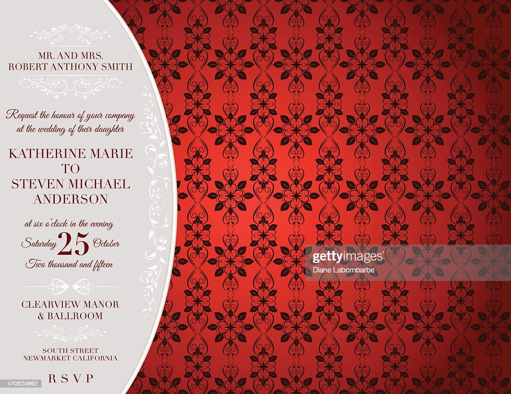 Elegant Damask Wedding Invitation Template Vector Art | Getty Images
