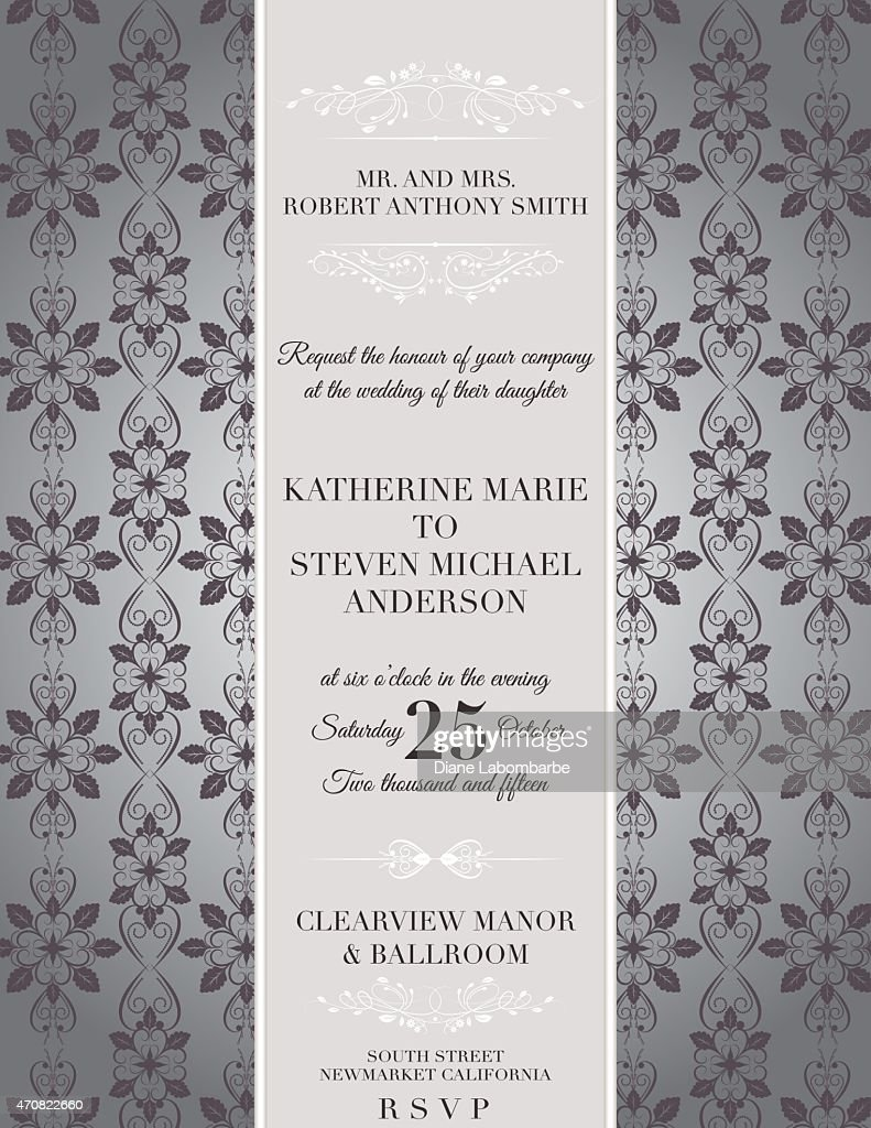 Elegant Damask Wedding Invitation Template Vector Art | Getty Images