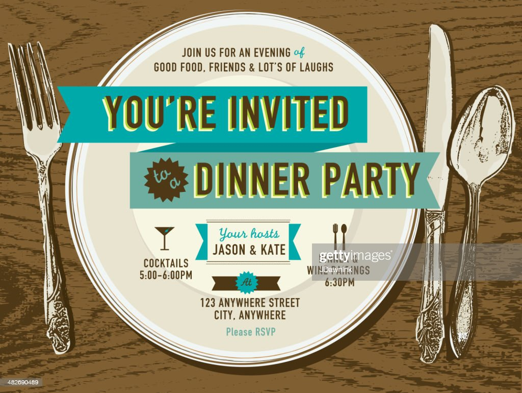 Elegant dinner party invitation design template placesetting on oak background