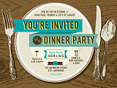 Elegant dinner party invitation design template placesetting on oak background