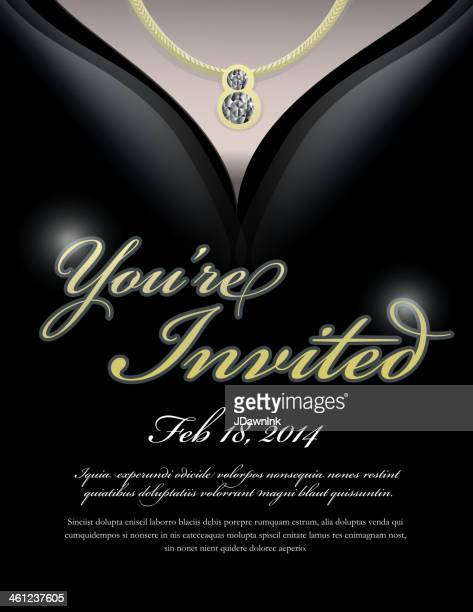 elegant evening gown with necklace invitation design template - evening gown stock illustrations