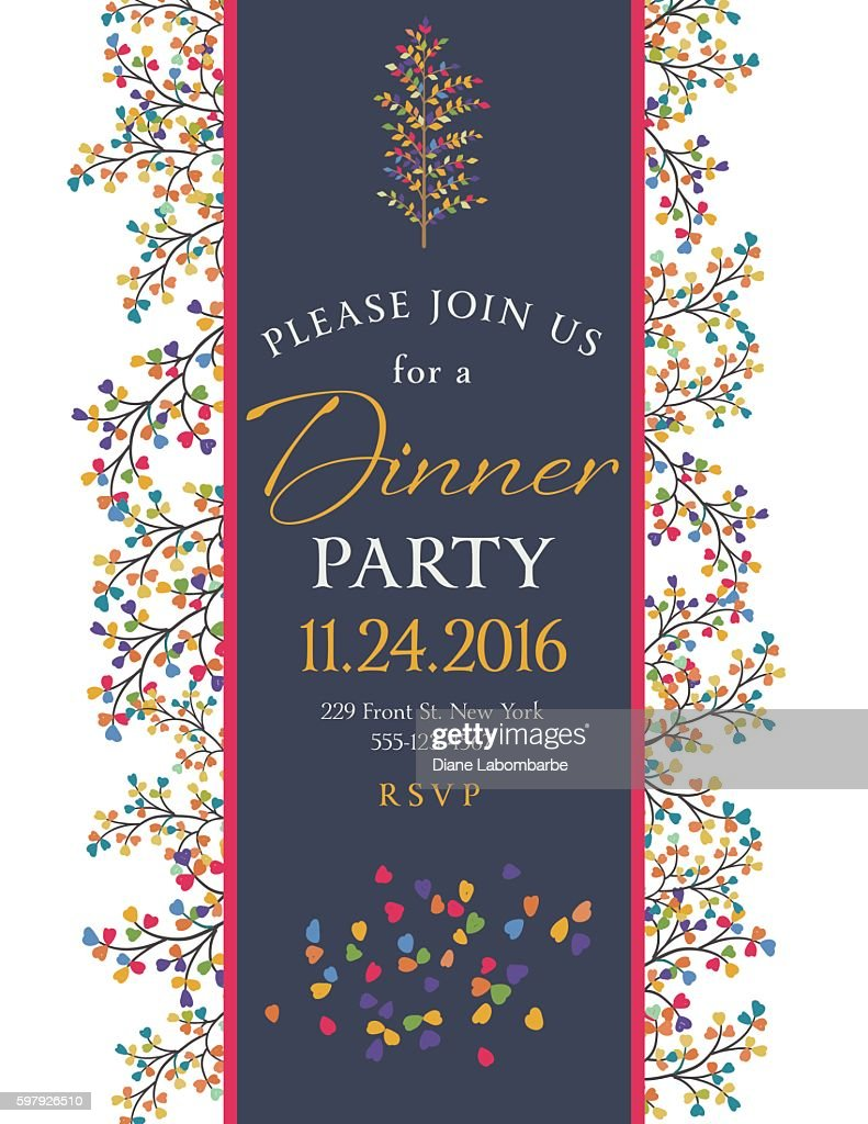 elegant fall dinner party invitation template vector art getty images