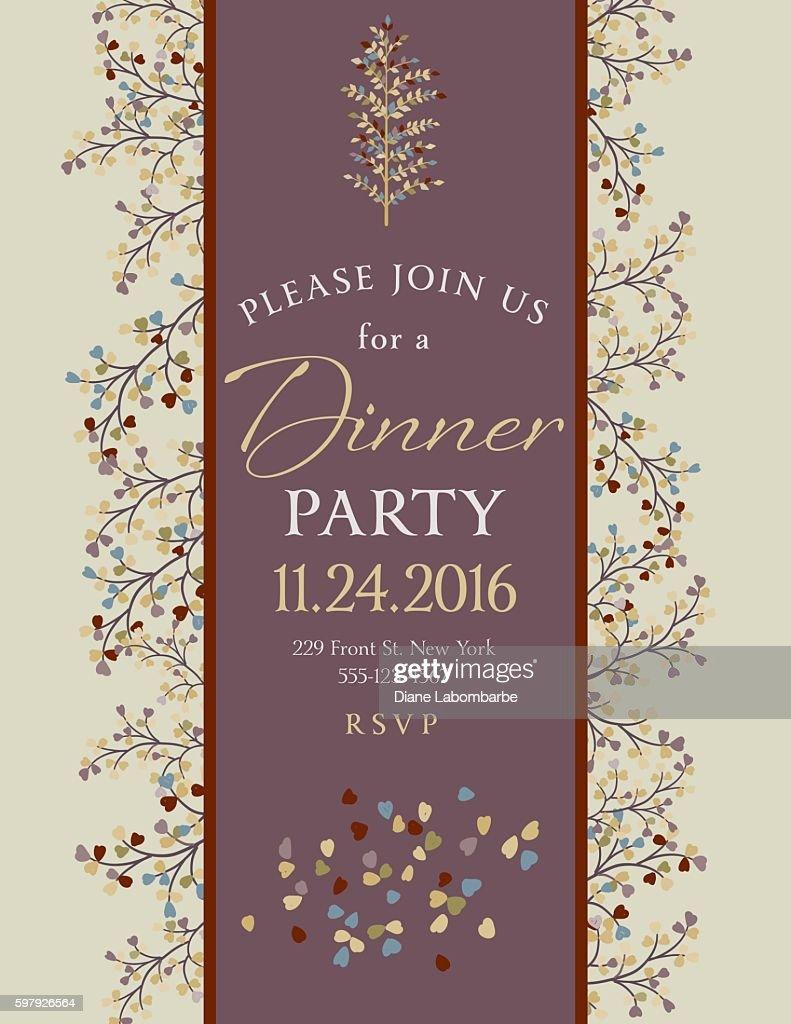 Elegant Fall Dinner Party Invitation Template Vektorgrafik Getty