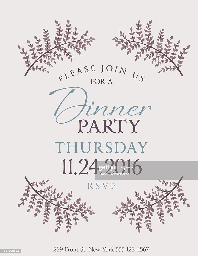 Elegant Fall Dinner Party Invitation Template Clipart Vectoriel