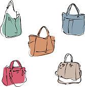 Elegant fashion woman leather handbag in sketch style