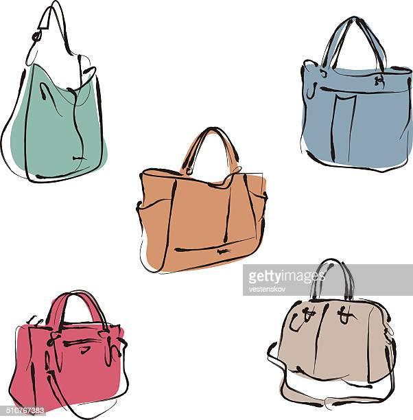 elegant fashion woman leather handbag in sketch style - handbag stock illustrations