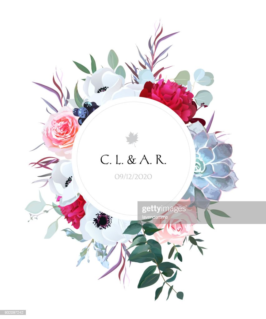 Elegant floral label frame arranged from leaves and flowers