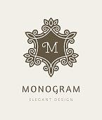 Elegant floral monogram design template.