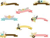 Elegant floral ribbons in blue, pink, brown and yellow.