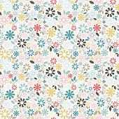 Elegant floral seamless pattern with simple daisy flowers and leaves. Small multicolored elements on white background.