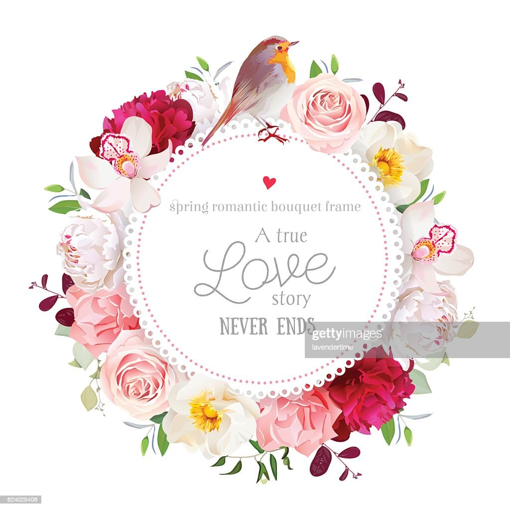Elegant floral vector round card with flowers and robin bird