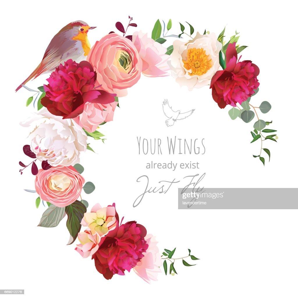 Elegant floral vector round frame with ranunculus, peony, rose,