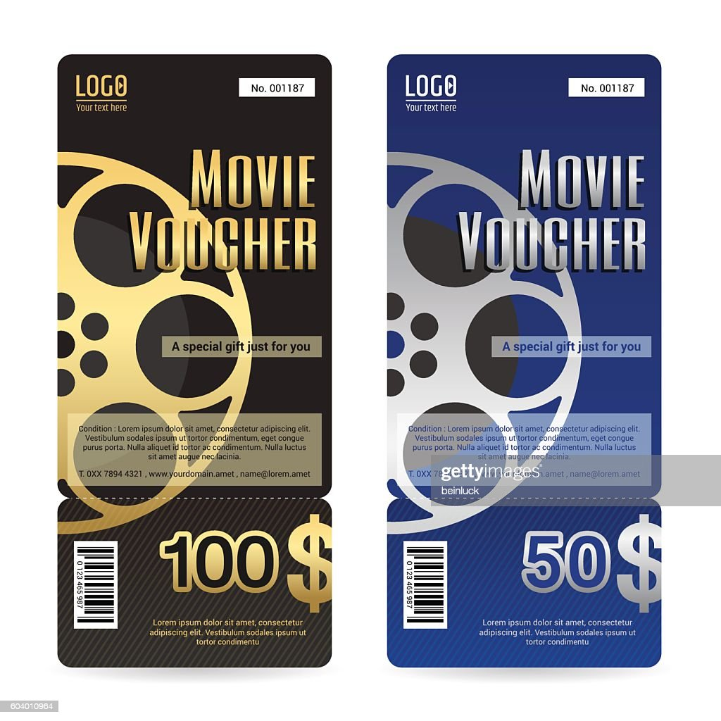 Elegant gift voucher or gift card in movie theme