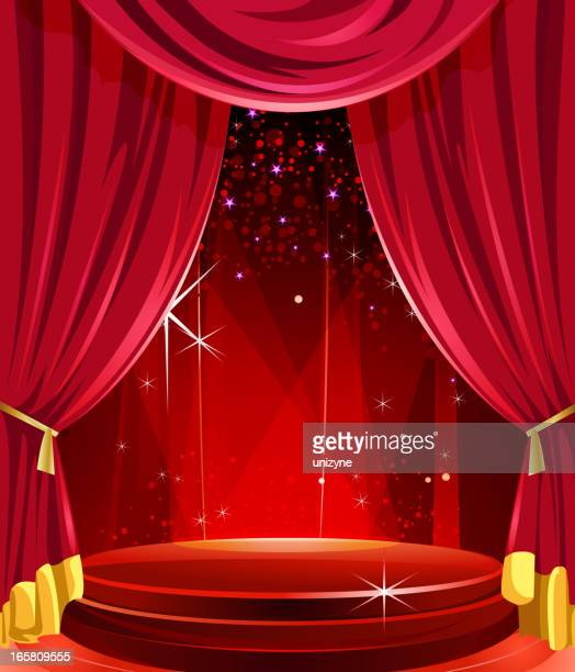 Elegant Glossy Stage with Curtains