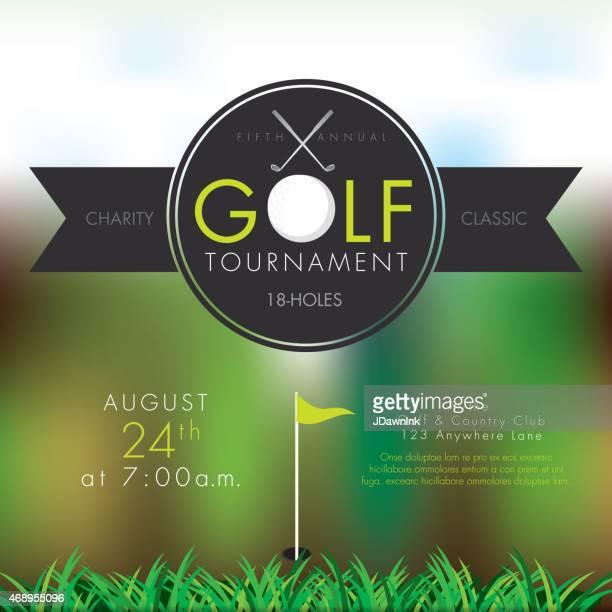 elegant golf tournament invitation design template on bokeh - golf tournament stock illustrations, clip art, cartoons, & icons