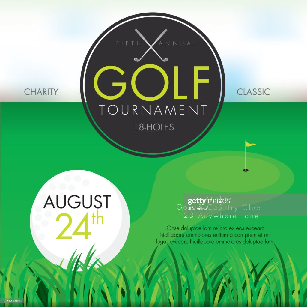 Elegant Golf tournament invitation design template on green : stock illustration