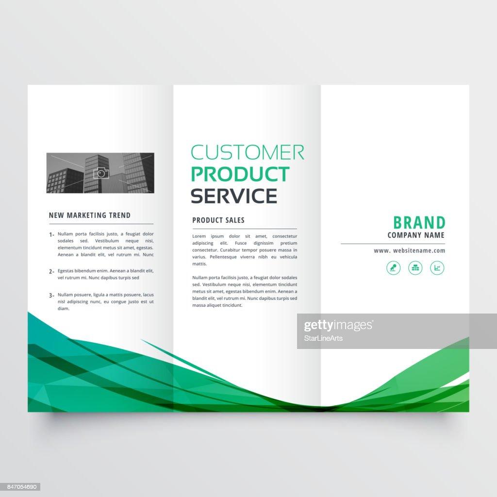 elegant green wave trifold brochure design for your business