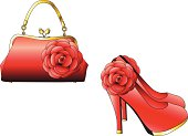 Elegant handbag and high heel shoes
