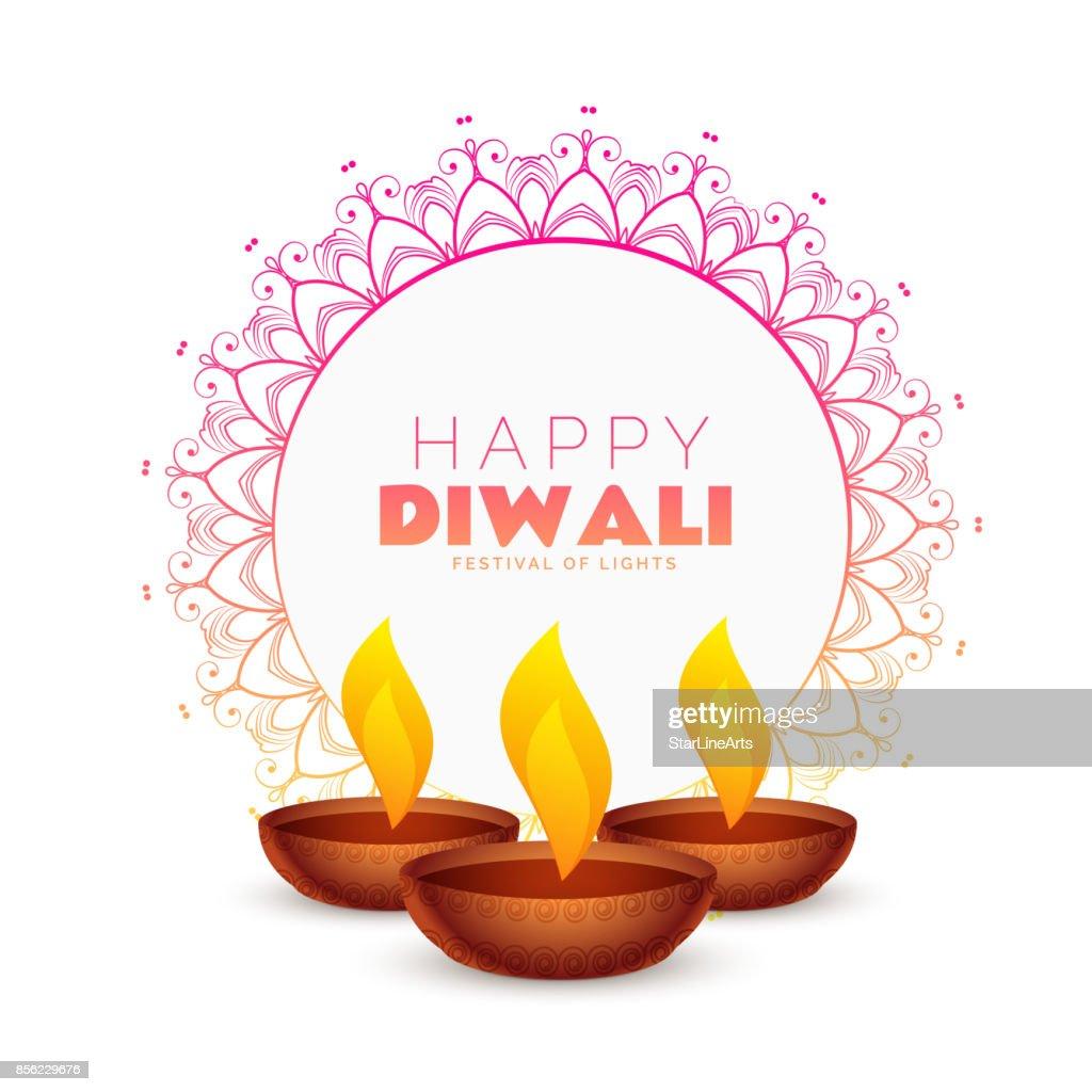 elegant happy diwali festival background with mandala decoration