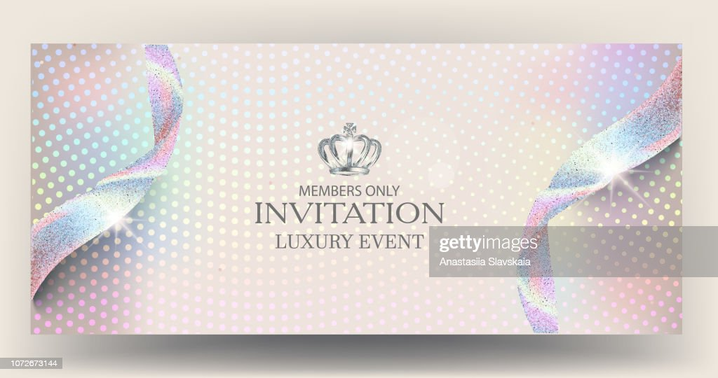 Elegant holographic invitation card with halftone effect background and ribbons. Vector illustration