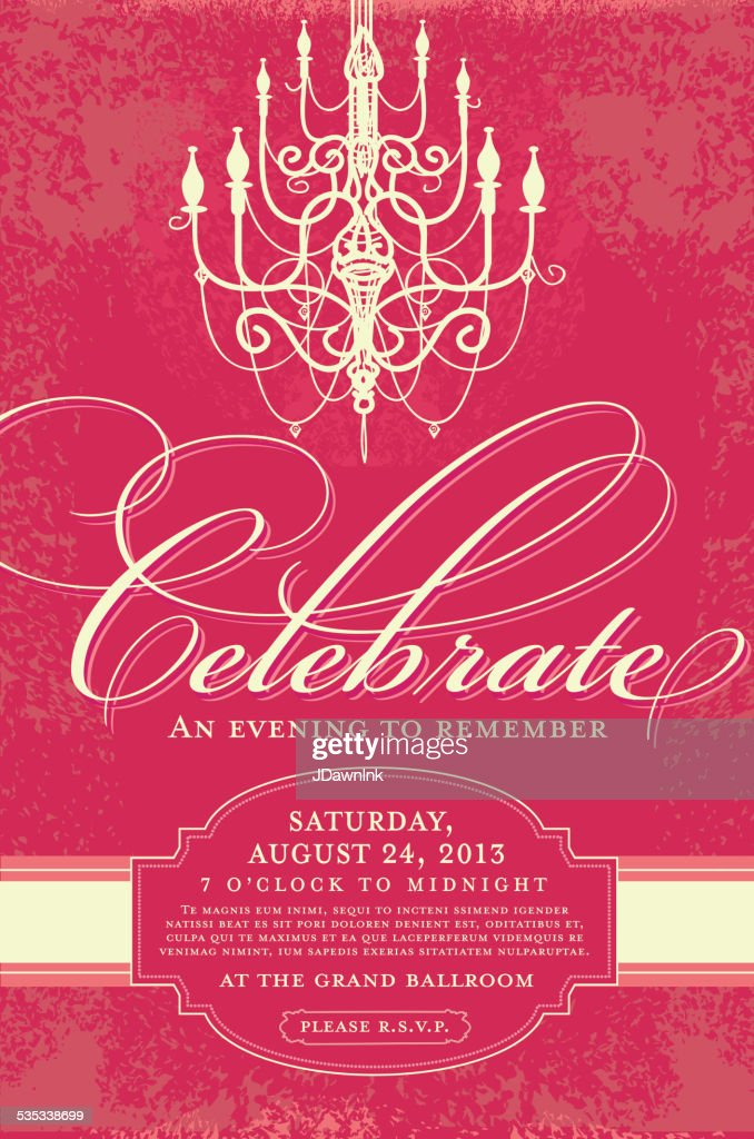 Elegant Invitation Design Template With Chandelier Vector Art ...