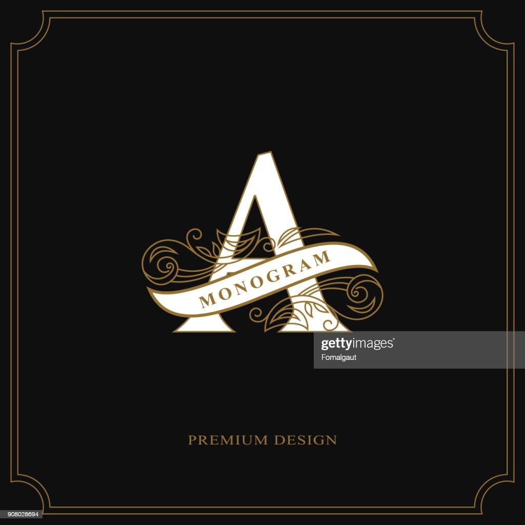 Elegant letter A. Graceful style. Calligraphic beautiful sign. Vintage drawn emblem for book design, brand name, business card, Restaurant, Boutique, Hotel. Vector illustration