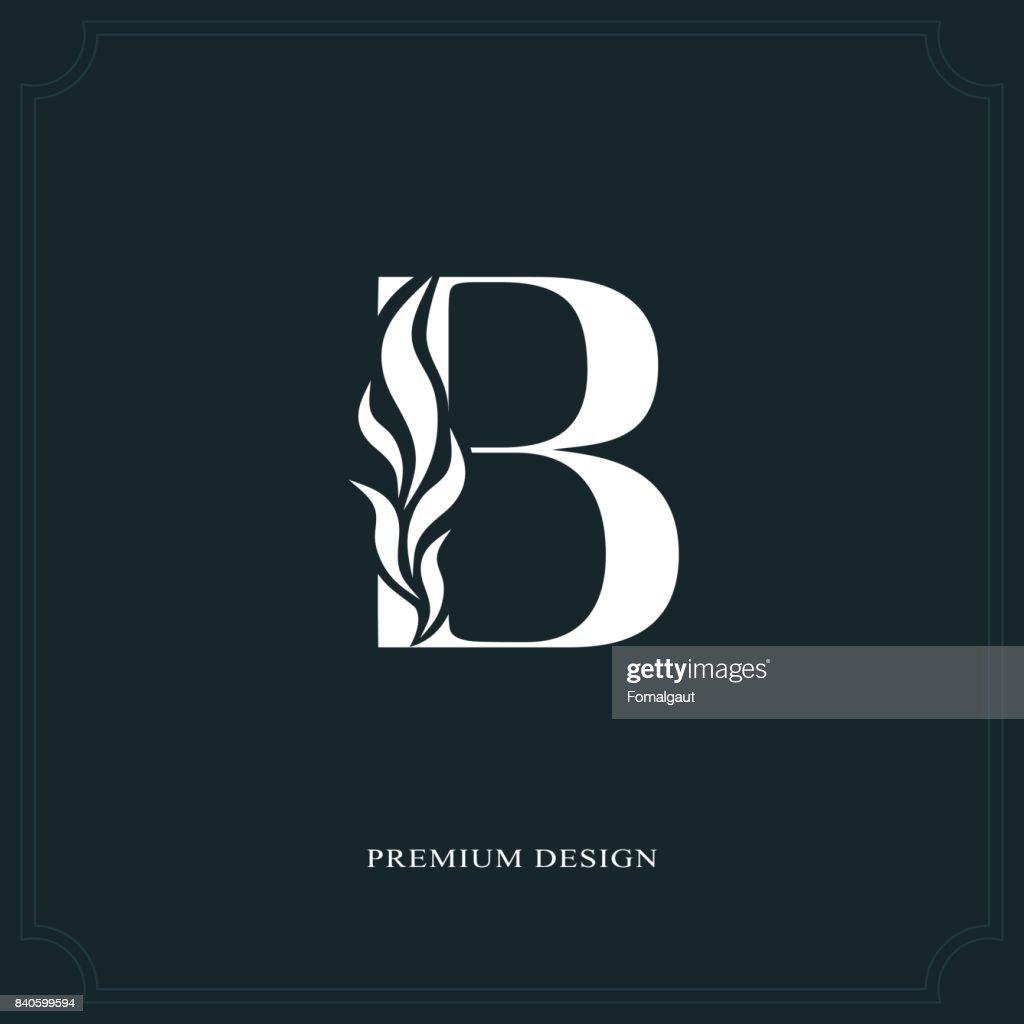 Elegant letter B. Graceful style. Calligraphic beautiful sign. Vintage drawn emblem for book design, brand name, business card, Restaurant, Boutique, Hotel. Vector illustration